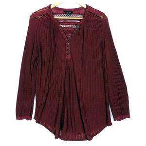 Lucky Brand Deep Red Long Sleeve Half Button Shirt